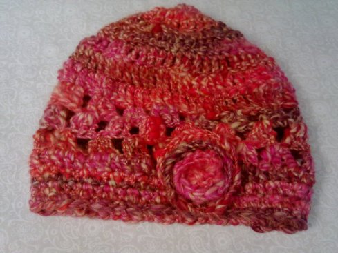 Crocheted red hat
